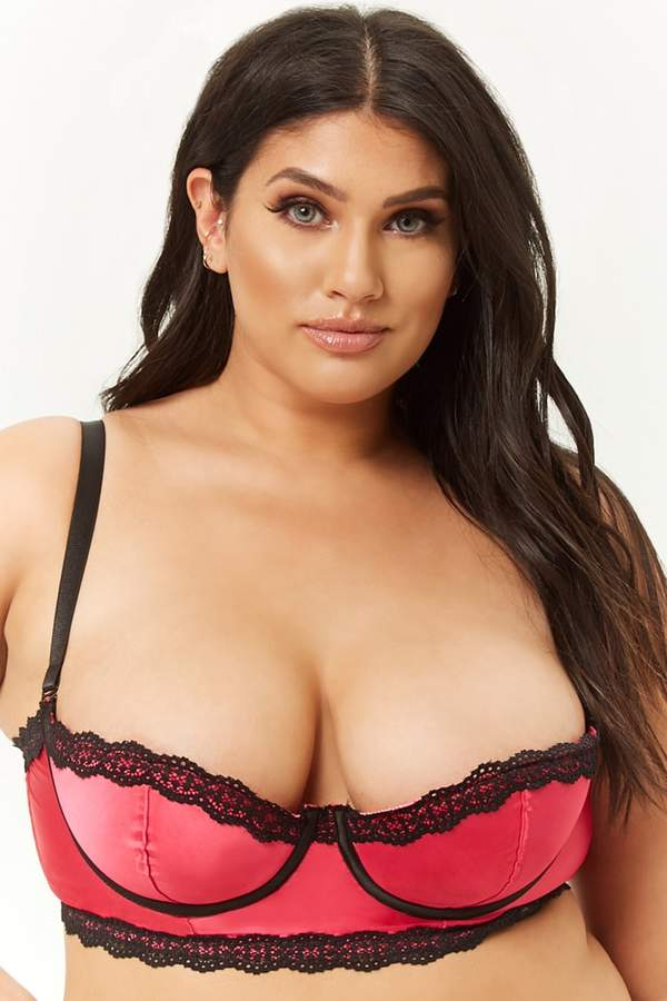Plus Size Oh La La Cheri Satin Lace-Trim Bra
