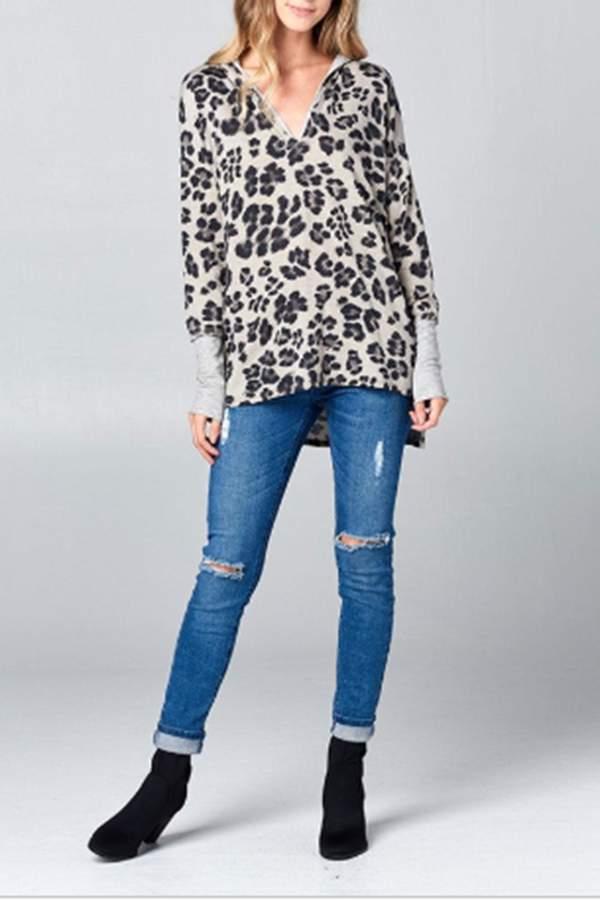 Leopard Printed Hoodie-Pullover