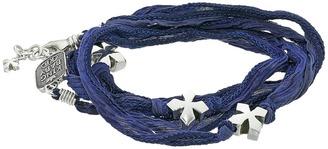 King Baby Studio - Multi Wrap Indigo Silk Bracelet with Crosses Bracelet $280 thestylecure.com