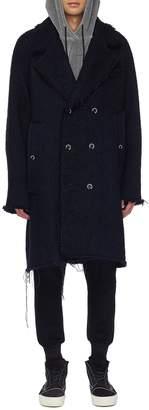 Song For The Mute Raw edge double breasted wool herringbone coat