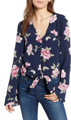 Cupcakes And Cashmere Jerome Floral Bell Sleeve Top
