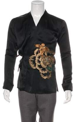 Gucci 2001 Silk Embroidered Kimono Shirt