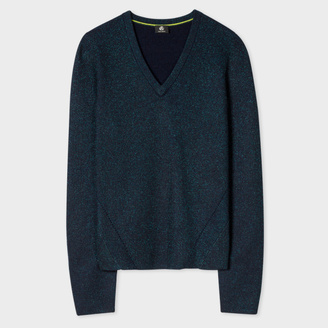 Women's Glittered Navy And Teal Wool-Blend V-Neck Sweater $300 thestylecure.com