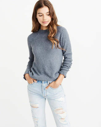 Abercrombie & Fitch Back-Button Mock Neck Sweater