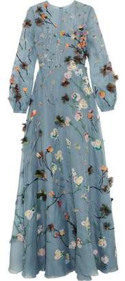 Valentino Appliquéd Silk-Organza Gown