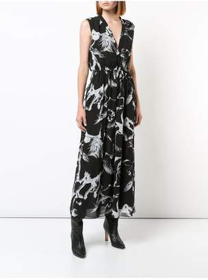 ADAM by Adam Lippes Printed Pebble Chiffon Sleeveless V-Neck Midi Dress