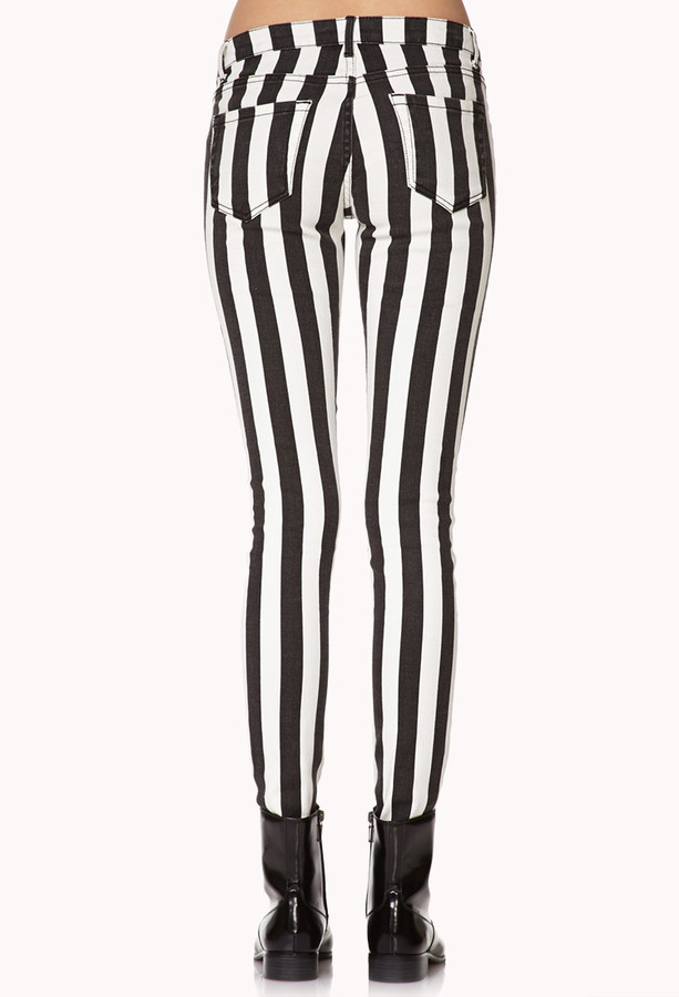Forever 21 Edgy Striped Skinny Jeans