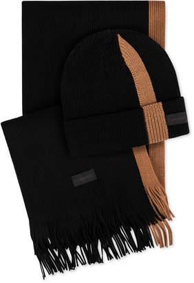 Calvin Klein Men Ribbed Striped Hat & Scarf Set