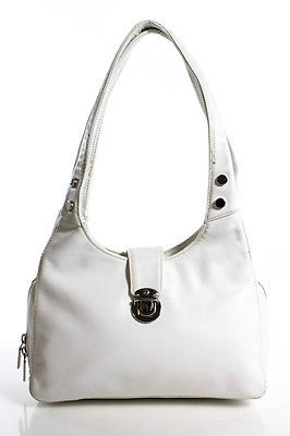 Perlina White Leather Double Handle Zip Top Shoulder Handbag $39 thestylecure.com