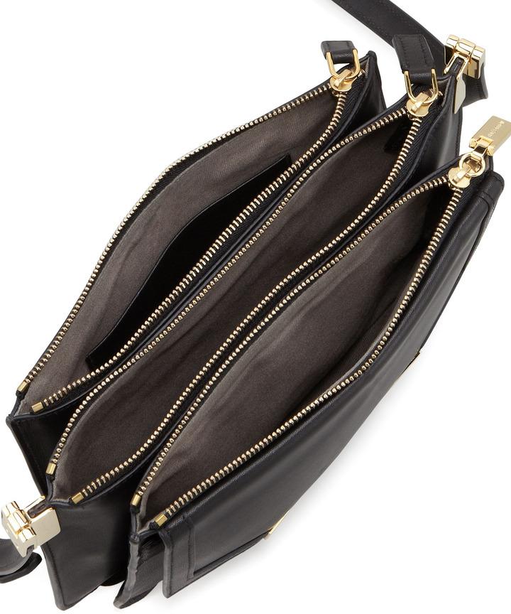 Trilogy Time's Arrow Mini Leather Crossbody Bag, Black