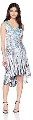 London Times Women's Petite Sleeveless Keyhole Halter Blouson Maxi Dress