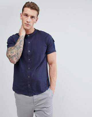 Brave Soul Grandad Collar Pocket Polo Shirt