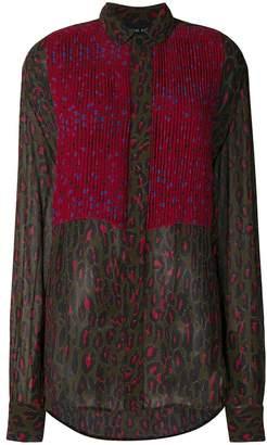 Michel Klein leopard print pleated blouse