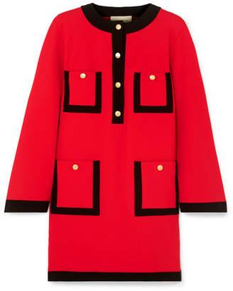 Gucci Velvet-trimmed Jersey Dress - Red