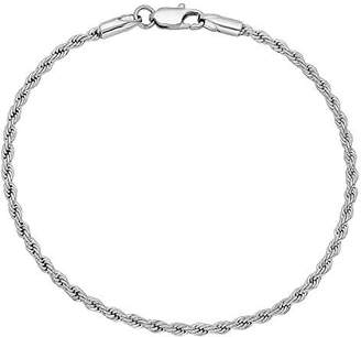 """Factory The Bling 2.4mm Rhodium Plated Rope Bracelet, 8"""""""