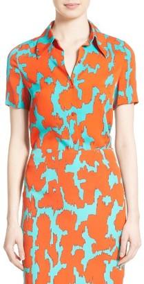 Women's Diane Von Furstenburg Print Stretch Silk Shirt $298 thestylecure.com