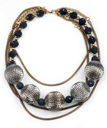Nicole Romano Black and Silver Bead Multi Chain Necklace