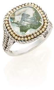 Effy Green Amethyst, Sterling Silver & 18K Yellow Gold Ring