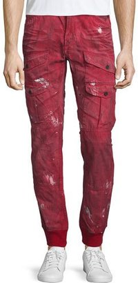 PRPS Distressed Cargo-Pocket Jogger Pants, Red $350 thestylecure.com