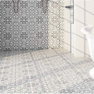 Rustico Tile & Stone 8 x 8 Cement Patterned Tile in Gray/White (Set of 4)