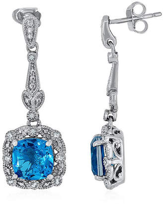 FINE JEWELRY Simulated Paraiba Tourmaline and Diamond Accent Sterling Silver Earrings