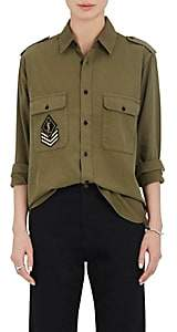 Saint Laurent Women's Sergeant-Patch Cotton Twill Shirt-Olive