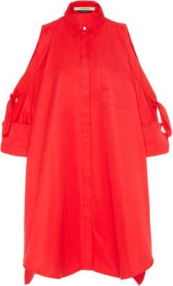 Hellessy Tania Open-Shoulder Cotton-blend Faille Dress