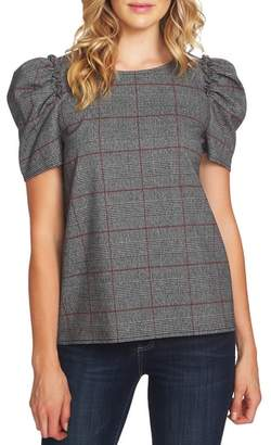 CeCe Puff Sleeve Plaid Blouse