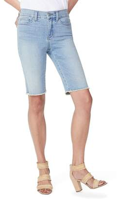 NYDJ Briella Frayed Hem Denim Bermuda Shorts