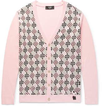 Fendi Slim-Fit Jacquard-Knit Cotton Cardigan