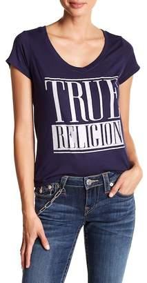 True Religion V-Neck Front Logo Embellished Tee