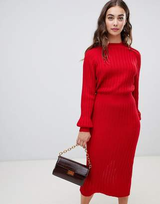 Lost Ink midi sweater dress in ribbed knit