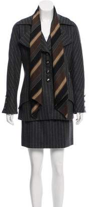 Valentino Striped Skirt Suit