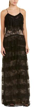 Haute Hippie Tiered Silk-Trim Gown