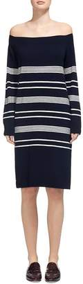 Whistles Rae Bardot Off-the-Shoulder Stripe Sweater Dress