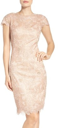 Women's Tadashi Shoji Embroidered Mesh Sheath Dress $368 thestylecure.com
