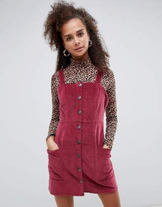 Bershka cord button front dress