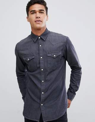 Selected Gray Wash Denim Overshirt