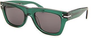CelineCeline CL41038-4W7BN-51 Unisex Square Translucent Green Sunglasses