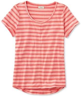 L.L. Bean L.L.Bean Garment-Dyed Tee, Short-Sleeve Crewneck Stripe