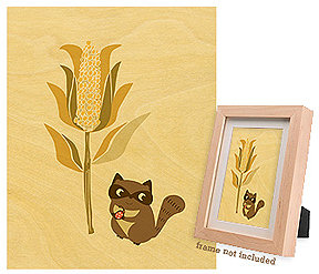 Night Owl Paper Goods Corny Racoon Print