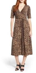Chaus Leopard Print Faux Wrap Dress