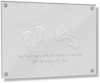 Camilla And Marc Feel Good Art Wall Mounted 3D Acrylic Frame with Stand-off Bolts (40 x 60 x 0.6 cm, Large, Buttercup Yellow, His Little Feet Stole our Hearts)