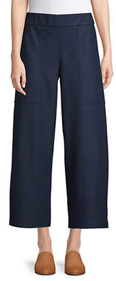 Eileen Fisher Cropped Wide-Leg Wool Pants