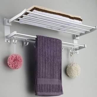 Moderna 2 Layers Foldable Alumimum 5 Hooks Towel Bar Rack Holder Hanger for Bathroom