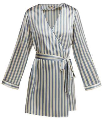 Morgan Lane - Langley Striped Silk Robe - Womens - Blue Stripe