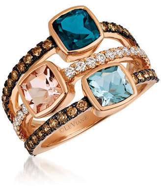 LeVian CORP Grand Sample Sale By Le Vian Deep Sea Blue Topaz, Peach Morganite, Sea Blue Aquamarine, 5/8 CT. T.W. Vanilla Diamonds & Chocolate Diamonds 3-Stone