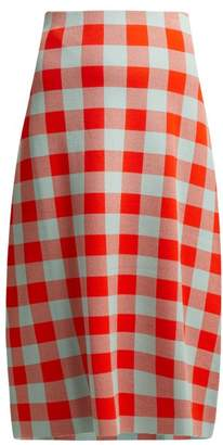 Jil Sander Checked Midi Skirt - Womens - Red Multi
