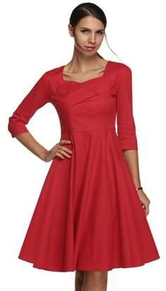 ACEVOG Elegant Women Sexy Dress,Lady Square Neck Dots Print Casual Party Dress