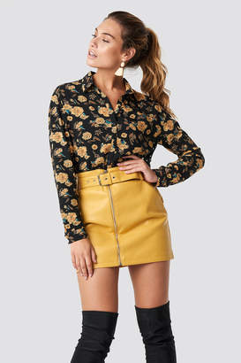 Glamorous Belted Mini Skirt Yellow